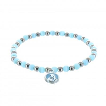 Bracelet fantaisie perles bleues et argentées et Vierge Marie