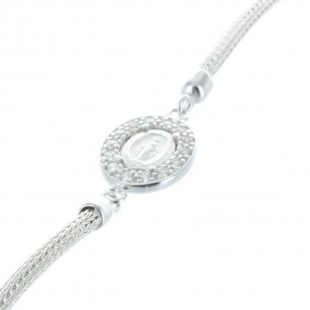 Bracelet Argent religieux, médaille Vierge Miraculeuse