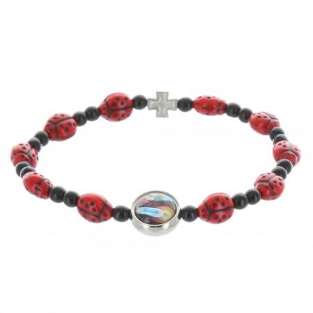 Rosary bracelet ladybug beads and Lourdes Apparition