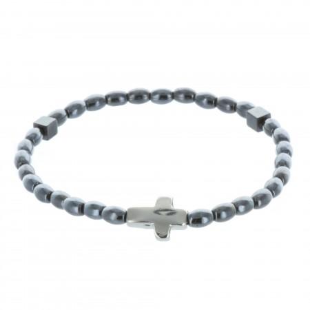 Elastic rosary bracelet hematite beads and silvery cross