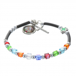 Bracelet dizainier grains multicolor et médailles Apparition de Lourdes