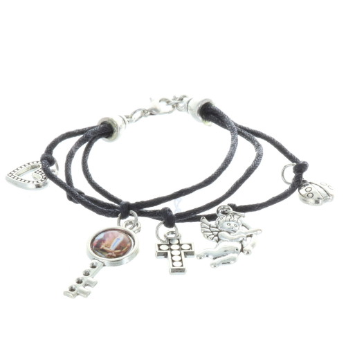 Cord fancy bracelet and religious silvery medals