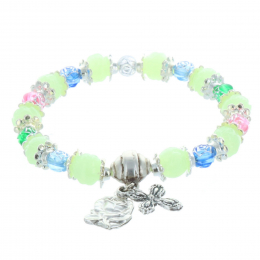 Rosary bracelet glowing beads and Lourdes Apparition