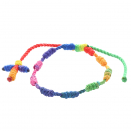 Multicolor cord rosary bracelet