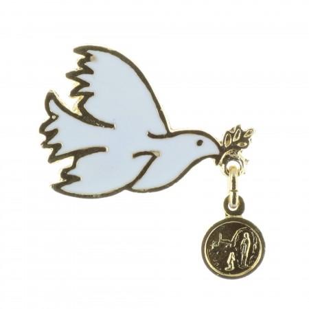 Pin's Colombe blanche et médaille Apparition Lourdes