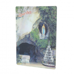 2 pieces set bidimensional postcards of Lourdes Apparition