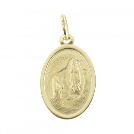 Médaille plaqué Or 18 carats, Apparition de Lourdes et Portrait Vierge Marie