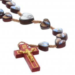 Cord rosary heart-shaped wood beads and Lourdes Apparition and Saint Bernadette picture