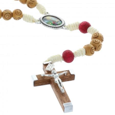 Rosario corda perline legno incise e crociera Apparizione di Lourdes