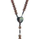 Chapelet corde grains bois, paters et coeur Apparition de Lourdes et Sainte Bernadette