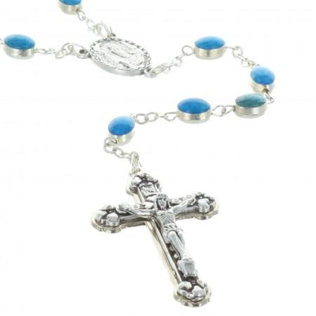 Chapelet de Lourdes en métal argenté grains émaillés bleus
