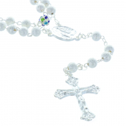 Metal rosary jeweled beads, strass colour paters and Lourdes Apparition centerpiece