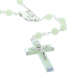 Glow-in-the-dark rosary round beads and Lourdes Apparition centerpiece