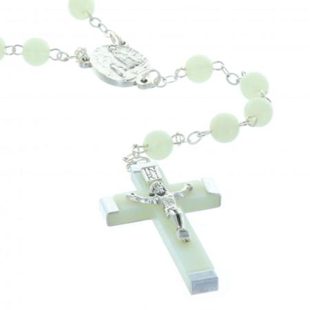 Rosario luminoso perline rotonde e crociera Apparizione di Lourdes