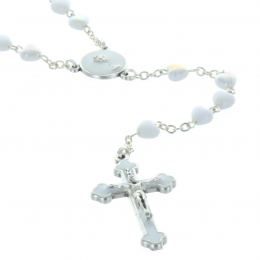 Communion rosary white heart-shaped beads