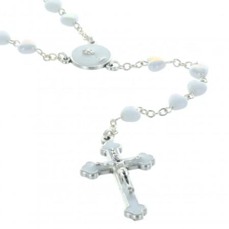 Rosario di comunione perle bianche a forma di cuore