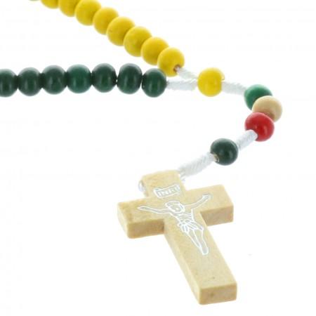 Rosario corda e perline legno colorate