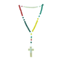 Cord rosary and colour wood beads