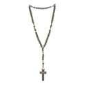 Cord rosary dark wood beads and Lourdes cross