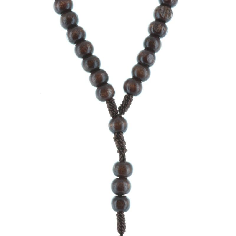 Cord rosary dark wood beads and Lourdes cross