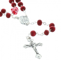 Rose-scented rosary, rose-shaped paters and case