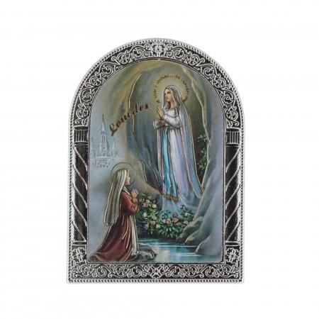 Quadretto religioso Apparizione di Lourdes argentata colorata 6,5 x 9 cm