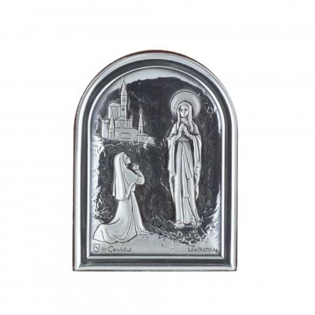 Quadretto religioso di legno Apparizione di Lourdes e Basilica 4,5 x 6 cm