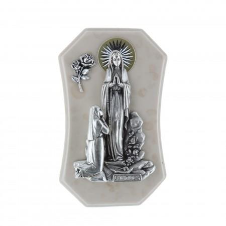 Quadretto religioso in resina Apparizione di Lourdes argentata 7,5 x 12 cm
