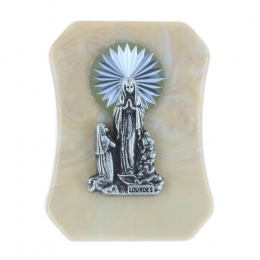 Lourdes Apparition silvery resin religious picture frame 4.5 x 6 cm