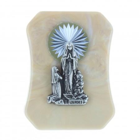 Quadretto religioso in resina Apparizione di Lourdes argentata 4,5 x 6 cm