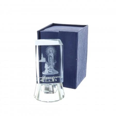 Cubo di vetro inciso laser 3D Apparizione di Lourdes 6,5 cm