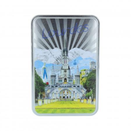 Confezione di prelibatezze,  Basilica di Lourdes e biscotti 250 g in scatolla di metallo