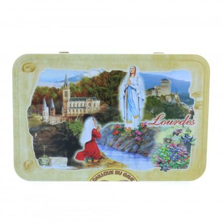 Bonbons Cailloux du Gave aux fruits 250 g et boîte métal de Lourdes.