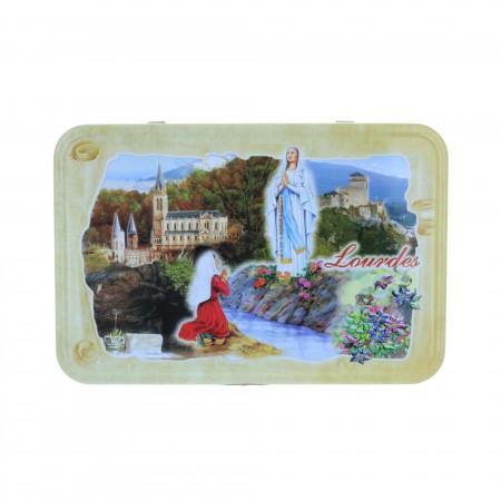 Confezione di prelibatezze, Apparizione di Lourdes e biscotti 250 g in scatola di metallo