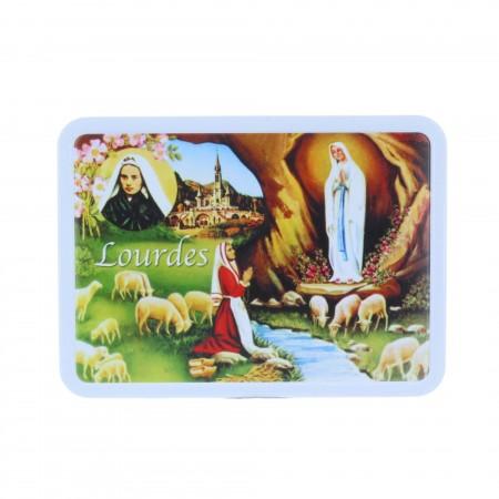 Confezione di prelibatezze, scatola di dolcificante Apparizione di Lourdes, pecore e caramelli 200 g