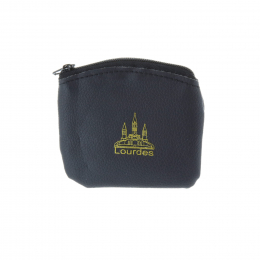 Rosary case black neoprene and golden Lourdes Basilica