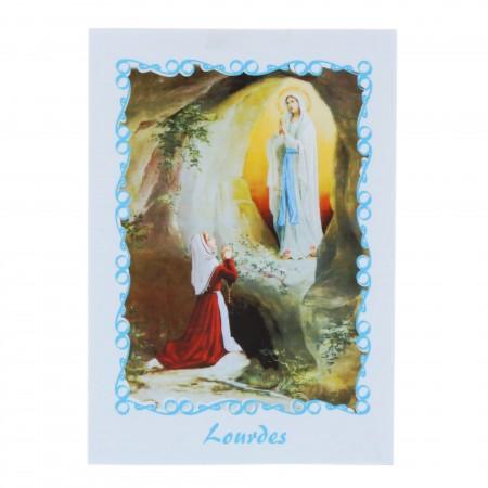 Lot de 2 images religieuses de l'Apparition de Lourdes et texte en anglais