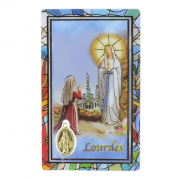 Lourdes Apparition prayer card in Thick plastic with a Miraculous golden medal