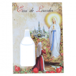 Prayer card, Lourdes Apparition, prayers and Lourdes water vial 10 ml