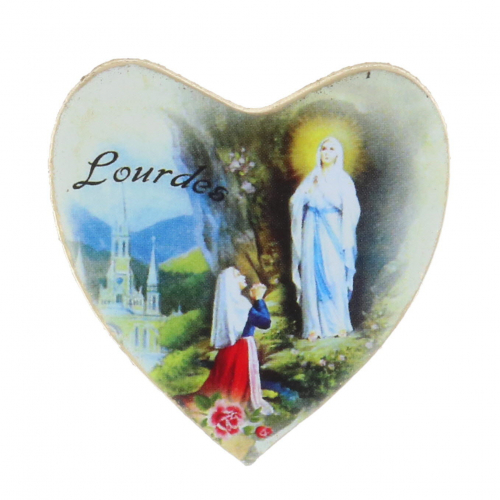 Lourdes Apparition Heart-shaped magnet
