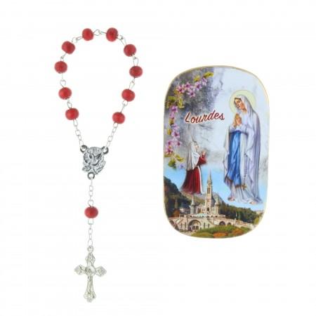 Magnet Apparizione di Lourdes e rosario decina profumato di rosa
