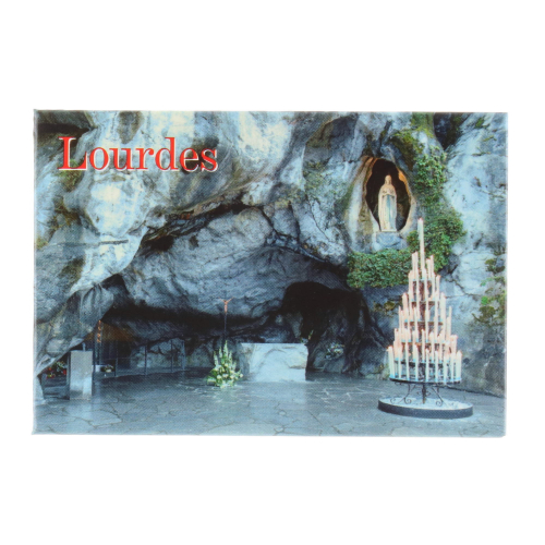 Vertical rectangular magnet and Grotto of Lourdes