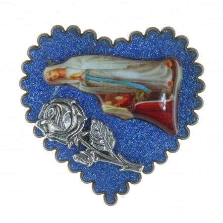 Magnet pailleté en forme de coeur et Apparition de Lourdes