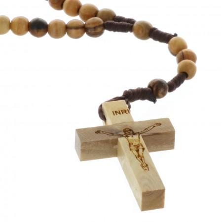 Chapelet corde grains bois d'olivier de Jérusalem