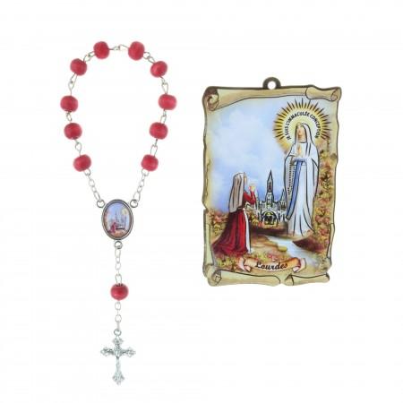 Cadre religieux en bois Apparition de Lourdes 5 x 7,5 cm et Dizainier parfumé à la rose