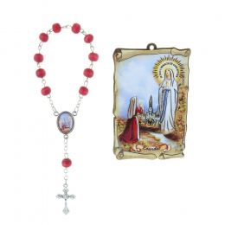 Quadro religioso di legno Apparizione di Lourdes 5 x 7,5 cm e Rosario decina profumato di rosa