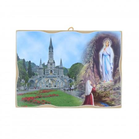 Cadre religieux en bois Basilique et Apparition de Lourdes 18 x 13,5 cm