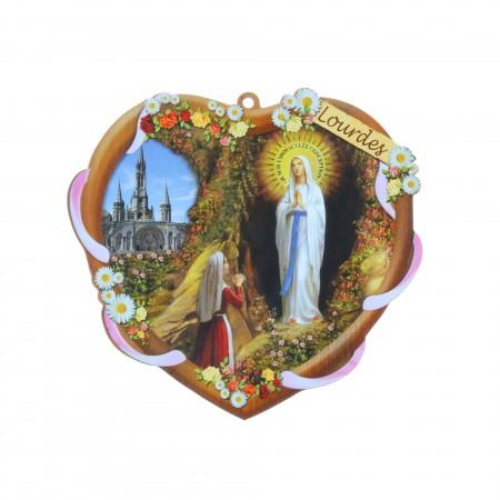 Cadre religieux en bois forme de coeur Apparition de Lourdes 14,5 x 13,5 cm