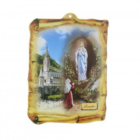 Quadro religioso di legno forma pergamena Apparizione di Lourdes dorata 17,5 x 25 cm