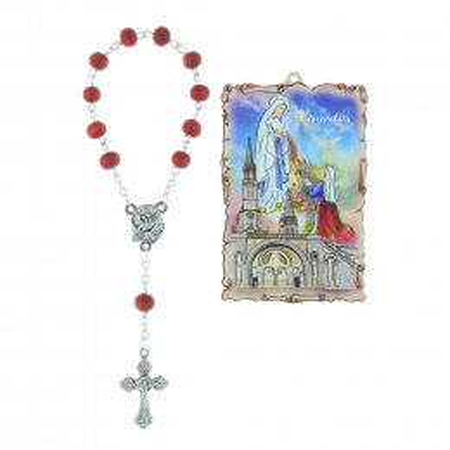 Cadre religieux en bois forme parchemin Apparition de Lourdes dorée 5 x 7,5 cm et Dizainier à la rose
